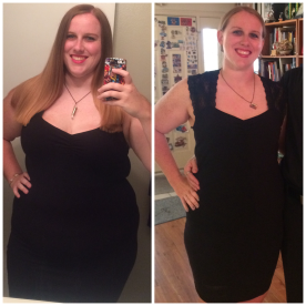 Same dress, June 2015 & April 2016